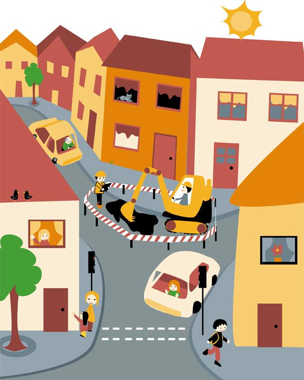 Stadt mit Baustelle für die Kleinen (Kinder)