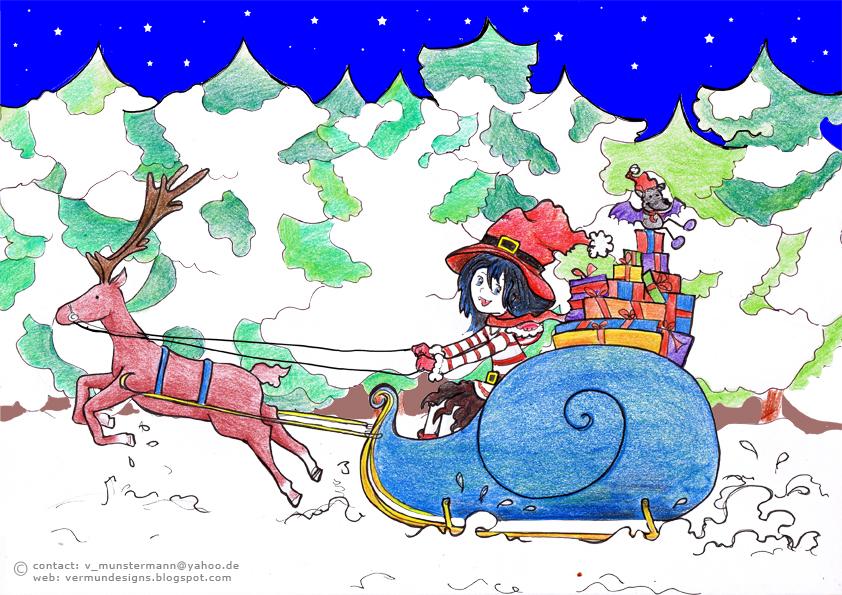 Weihnacht, Schlitten, Luna, Buch, Illustration, character