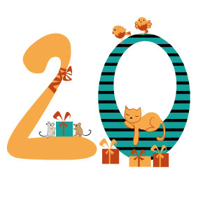 cat, winter, bird, gift, mouse, advent, illustration,