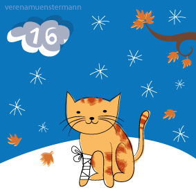 cat, winter snow, advent, illustration,
