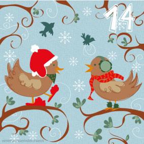birds, winter, advent, illustration, christmas