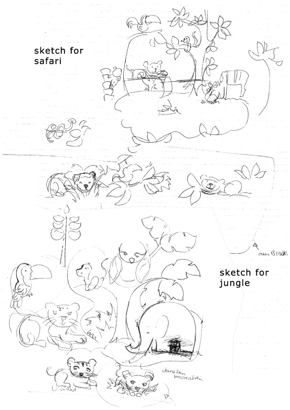 sketches animals in jungle